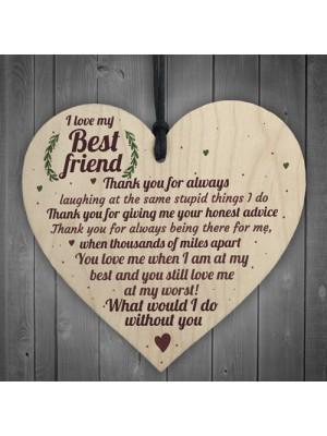 Love Best Friend Friendship Sign Women Birthday Plaque Chic Wood