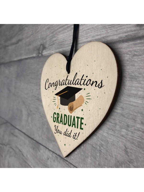 You Did It Congratulations Gift Wood Heart Keepsake Graduation