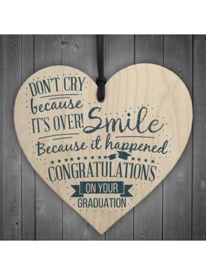 Congratulations On Your Graduation Wood Heart Gift Keepsake Sign