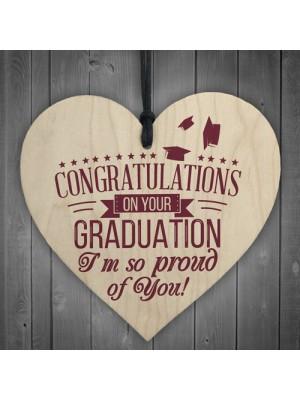 Graduation Congratulations Wooden Heart Keepsake Gift Plaque