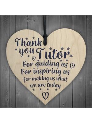 Thank You Tutor Teacher Mentor Wooden Heart Leaving Gift Plaque
