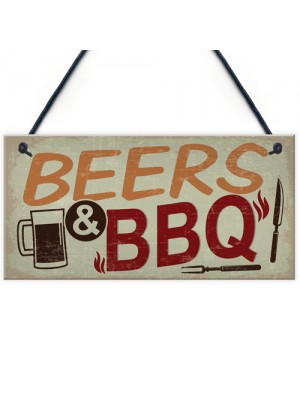 BEERS BBQ Novelty Hanging Garden Sign Barbeque Shed Plaques