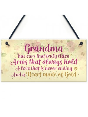 Heart Of Gold Grandparent Grandma Gran Nan Plaques Signs Gift