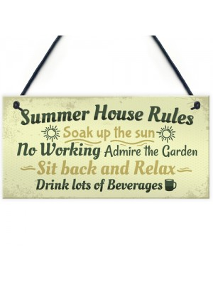 Summer House Rules Novelty Hanging Plaque Garden Shed Sign