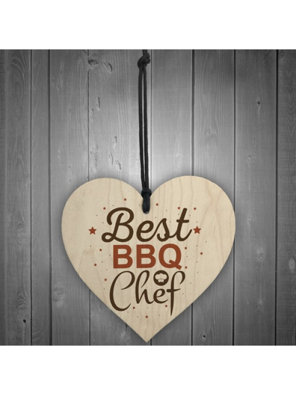 BBQ Barbecue Cooking Kitchen Dad Mum Gift Wood Heart Sign