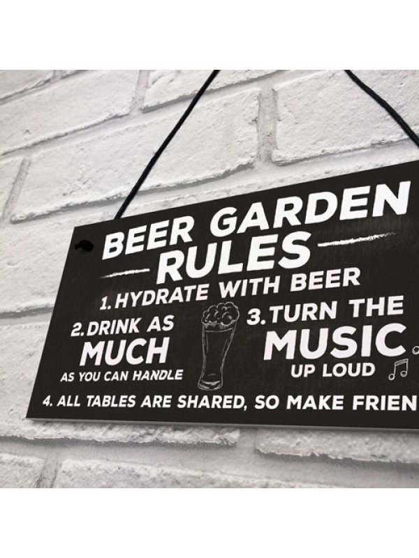 Beer Garden Rules Hanging Wall Signs Pub Garden Plaques Alcohol