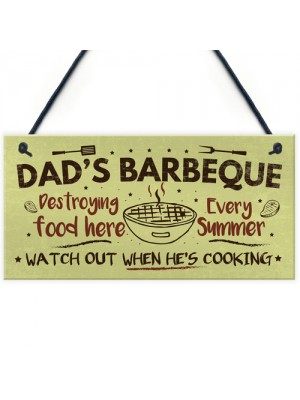Dads Barbeque Garden Shed Sign SummerHouse Plaque Fathers Day