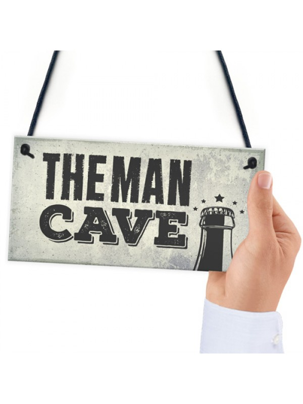 Man Cave Plaque Fathers Day Alcohol Gift Games Room Boys Bedroom