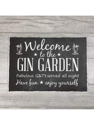 Welcome To The Gin Garden Hanging Alcohol Wall Sign Garden Sign