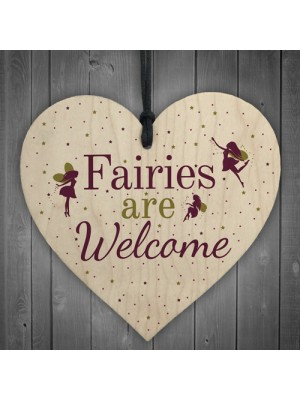 Wooden Fairies Welcome Hanging Garden Gardening Shed Plaque