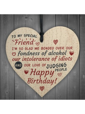 Special Friend Friendship Sign Happy Birthday Plaque Wooden