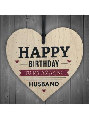 Happy Birthday Husband Wife Hubby Partner Wooden Heart Plaque