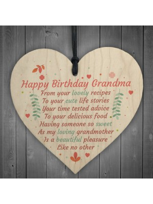 Happy Birthday Grandma Wood Heart Gran Nan Special Grandson