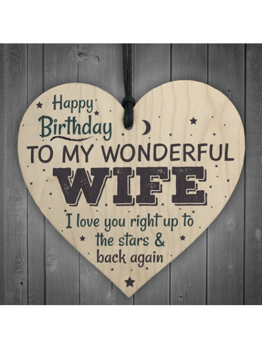 Wonderful Wife Happy Birthday Wood Heart Husband Love Wall