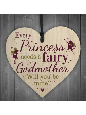 Will You Be My Godmother Fairy Wooden Heart Godparents Family