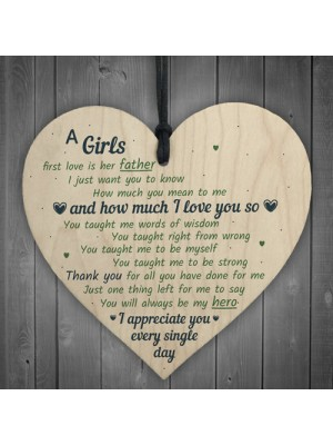 Father Girls First Love Wood Heart DAD Daddy Fathers Day Gift