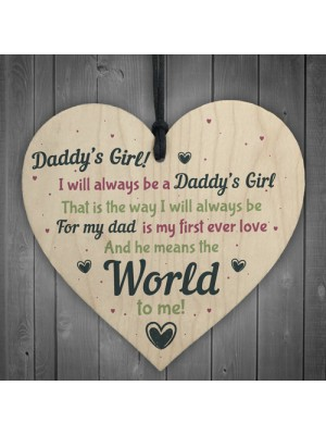 Daddy's Girl Wooden Heart Birthday FATHERS DAY Gift For Him