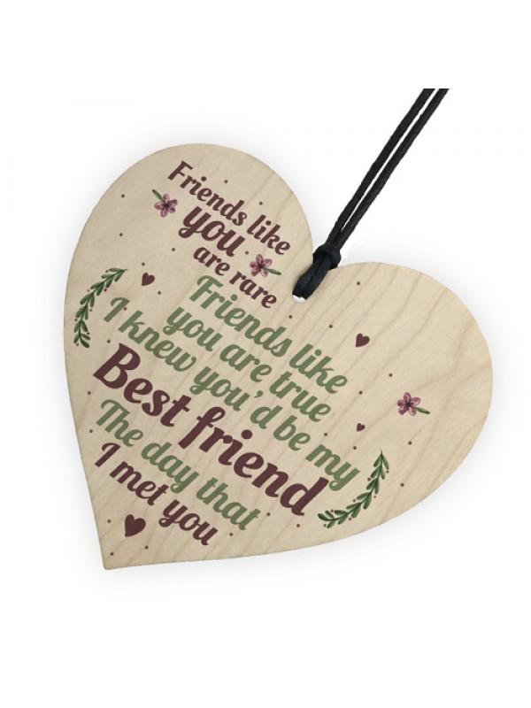 Rare Best Friends Friendship Sign Wood Heart Birthday Plaque