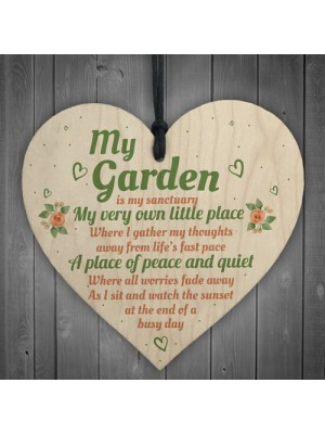My Garden Gardening Shed Wood Heart Sign Plaque Wall Plaque