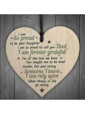 Fathers Day Birthday Gift For Dad Daddy Wood Heart Sign Daughter