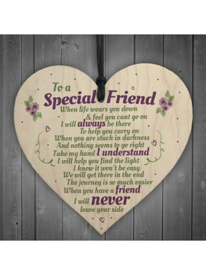 Special Friend Friendship Gift Shabby Chic Wood Heart Thank You