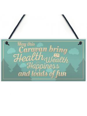 Happiness Caravan Door Plaque Funny Retirement Travelling Gifts