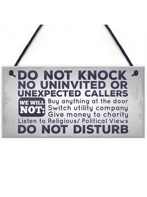 Do Not Knock No Cold Callers Sales People Hanging Plaque Sign