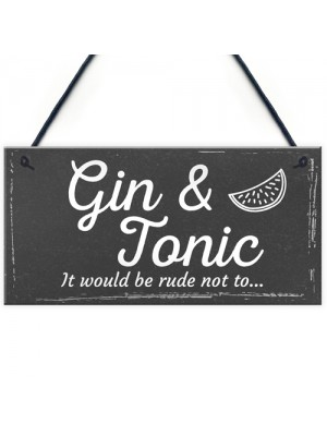 Gifts For Women Gin & Tonic Plaque Novelty Garden Alcohol Pub