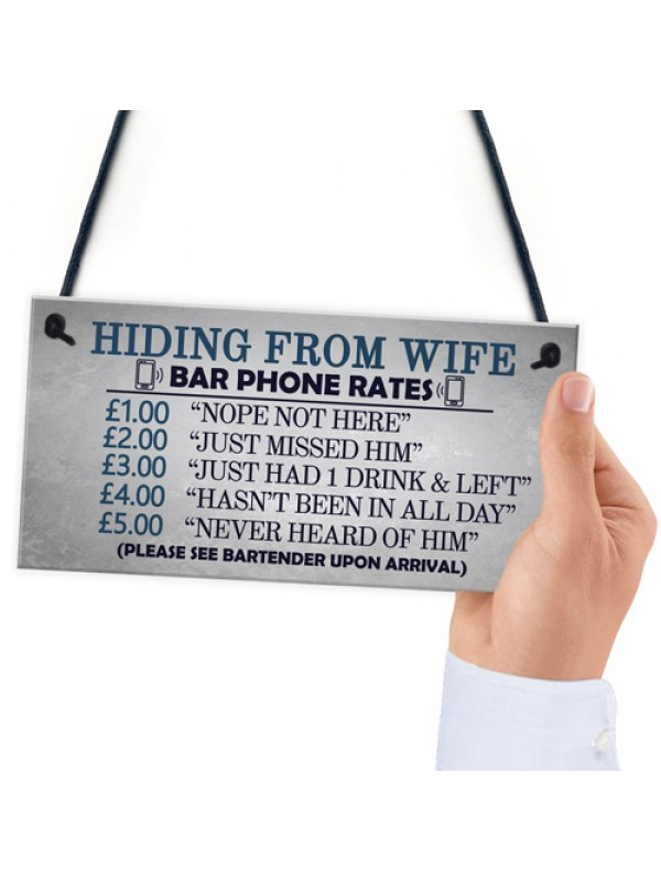 Gifts For Him Funny Man Cave Hiding From Wife Sign Pub Bar