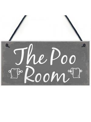 The Poo Room Shabby Chic Bathroom Toilet Loo Plaque Door Sign