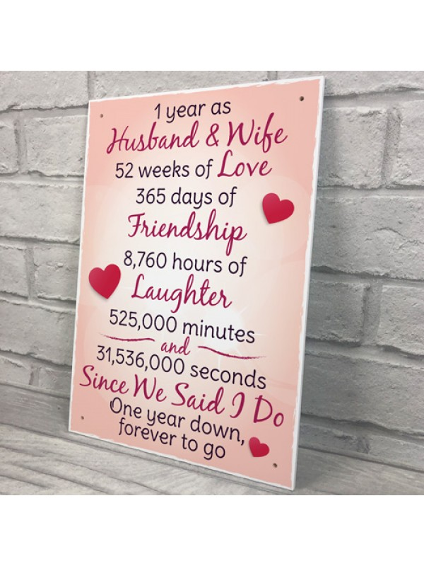 1st Wedding Anniversary Plaque Husband Wife Gift For Her Women