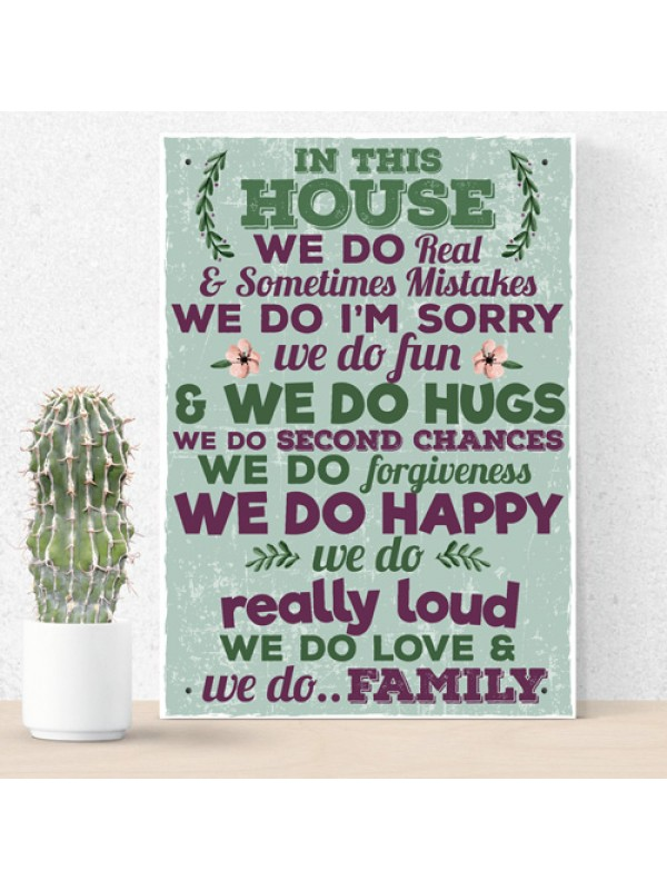 In This House We Do Family Wall Art Sign Plaque Mum Dad Birthday