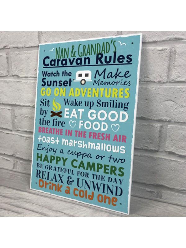 Nan And Grandad Caravan Rules Travel Holiday Gift Hanging Plaque