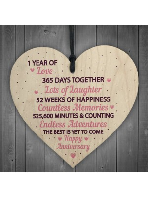1st Wedding Anniversary Gift Wood Heart First Wedding Gift Wife