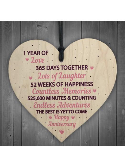 1st Wedding Anniversary Gift Wood Heart First Wedding Gift Wife