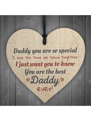 Best Daddy Ever Fathers Day Dad Gift Wooden Heart Sign Gift