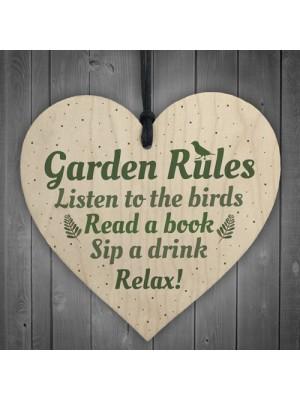 Garden Rules Wooden Hanging Heart Plaque Garden Shed Friendship