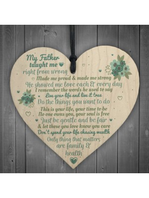 My Father Fathers Day Dad Wood Heart Sign Memorial Gift For Him