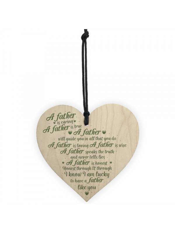 Caring Father Dad Fathers Day Wooden Heart Sign Gift For Him