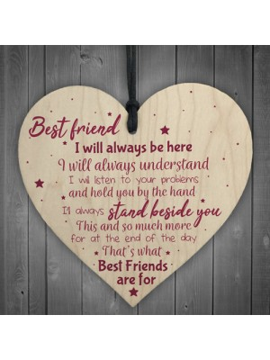 Best Friend Gift Friendship Plaque Wood Heart Birthday Keepsake