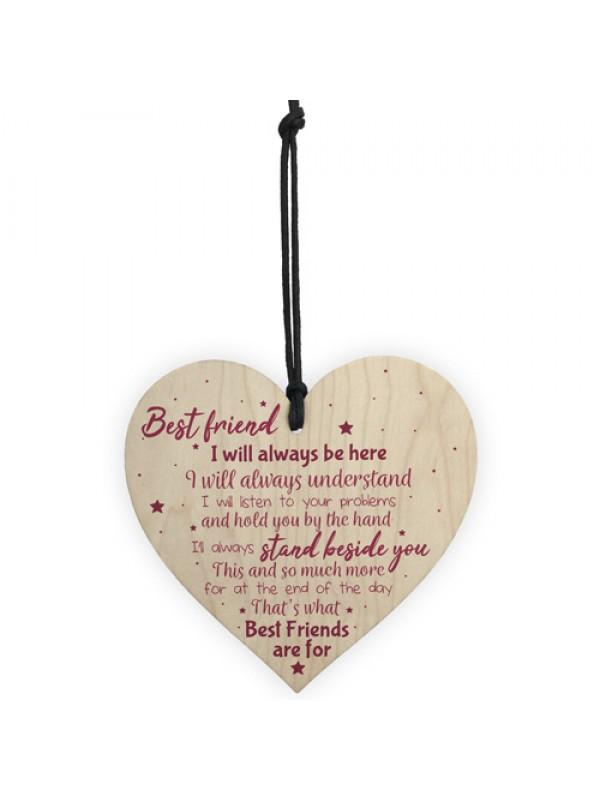 Best Friend Gift Friendship Plaque Wood Heart Birthday Keepsake