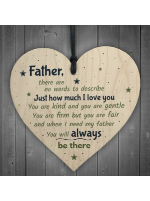 Father Daddys Girl Dad Daddy Wood Heart FATHERS DAY Gift For Him