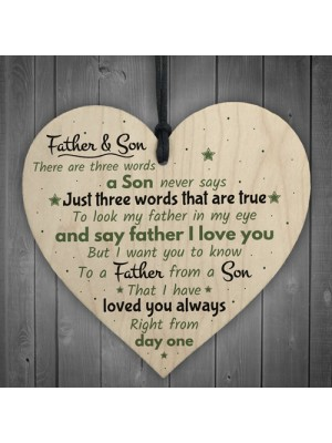 Father And Son Hanging Wooden Heart FATHERS DAY Gift For Him