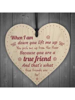 Friendship Sign Best Friend Plaque Wooden Hanging Heart Sign