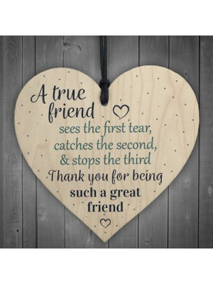 Friendship Gift Best Friend Sign Wooden Hanging Heart Thank You