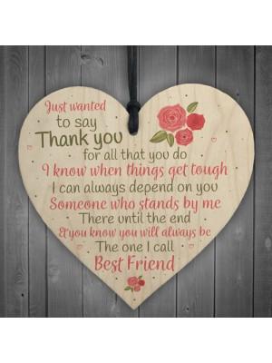 Friendship Thank You Gift Best Friend Plaque Wood Heart Sign