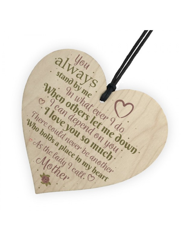 Mother Love You Wooden Heart Mothers Day Birthday Mum Gift