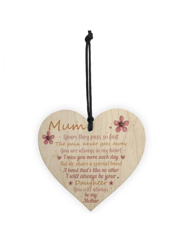 Mum Garden Memorial Gift Wooden Heart Grave Plaque Gifts For Mum