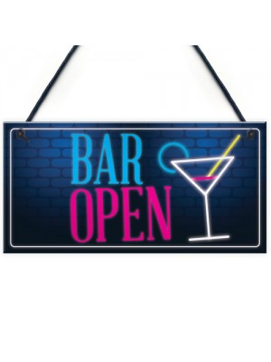 Bar Open Sign NEON EFFECT Home Bar Man Cave Pub Club Plaque