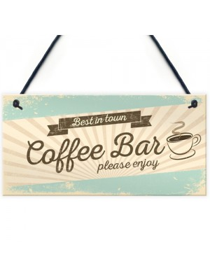 Coffee Bar Hanging Wall Plaque Home Decor Kitchen Cafe Sign